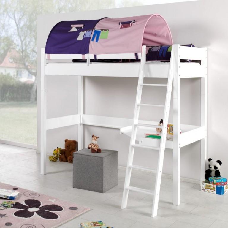 Relita 'RENATE' Multifunktionsbett mit Schreibtisch weiß, Stoffset Rosa/Lila inkl. Matratze Bild 1