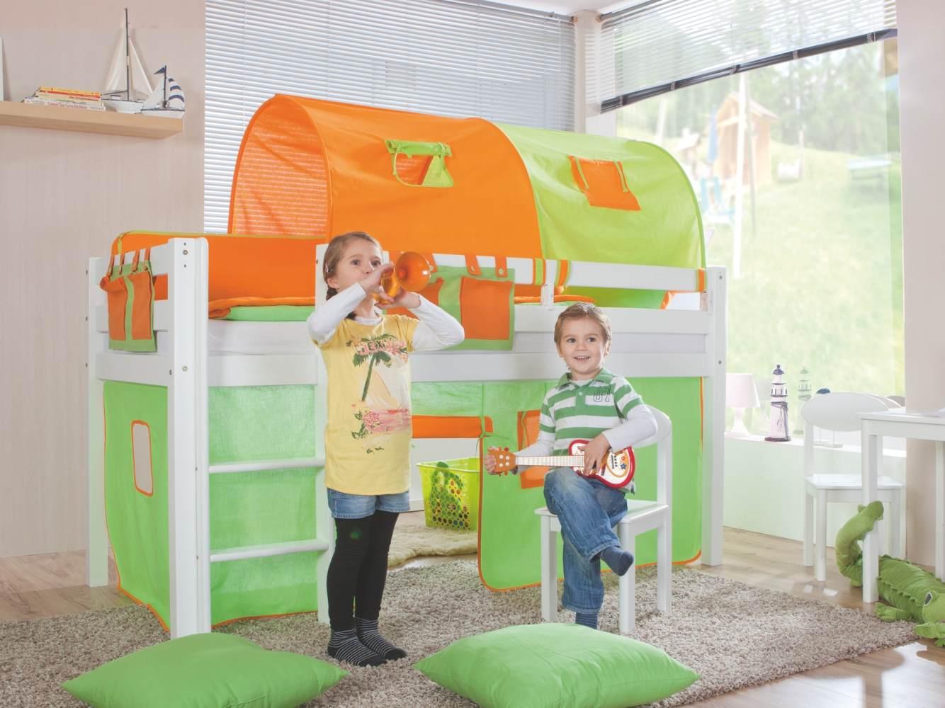 Relita Halbhohes Spielbett ALEX Buche massiv weiß lackiert mit Stoffset grün/orange Bild 1
