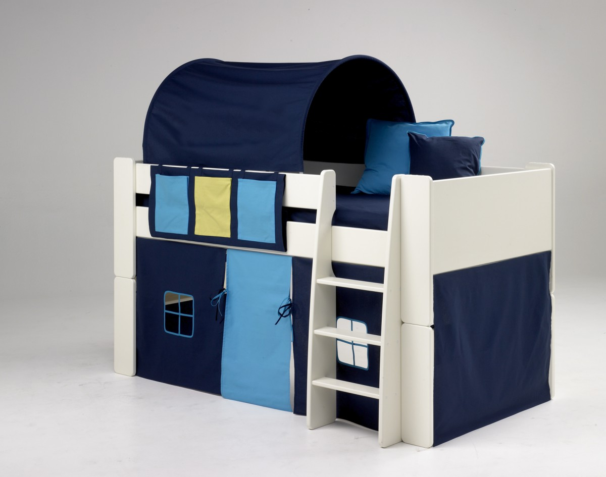 STEENS Hochbett weiß, 90x200 cm, inkl. Textil-Set Blau Bild 1