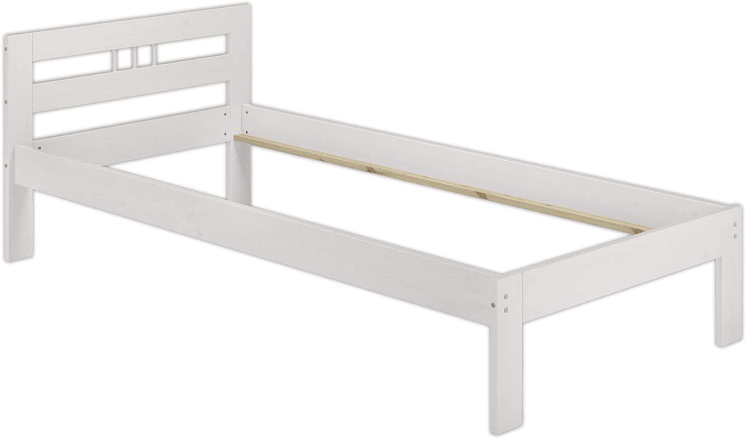 Erst-Holz Einzelbett weiß, 80x200 cm, Massivholz Bild 1