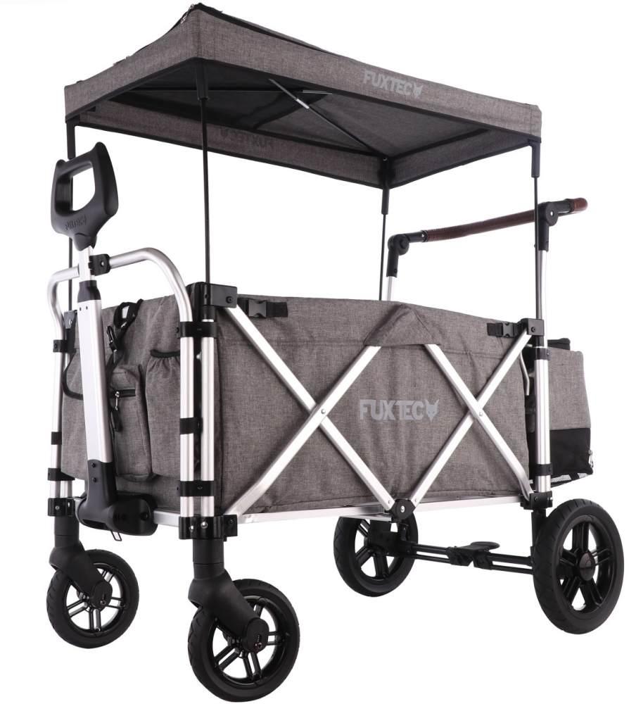 FUXTEC 'CTL-900' Luxus Bollerwagen in Grau, inkl. Sonnendach, Hecktasche, Zugstange und Schiebegriff, gepolsteter Boden und Rückenlehne, 5-Punkt-Sicherheitsgurt und belüftetes Schuhfach Bild 1