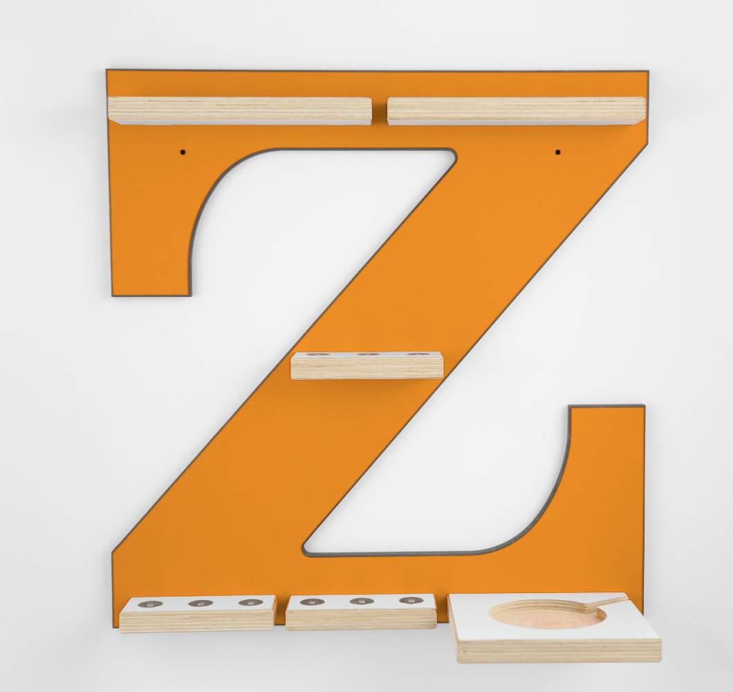 Schreinerei Linden 'Buchstabe Z' Tonie Regal mit Musikboxhalterung, orange Bild 1
