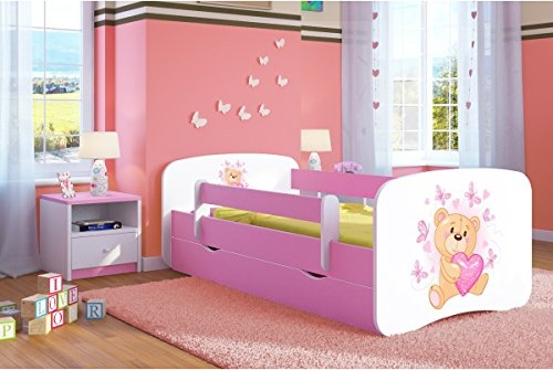 Kocot Kids 'Teddy mit Schmetterlingen' Einzelbett pink/weiß 80x160 cm inkl. Rausfallschutz, Matratze, Schublade und Lattenrost Bild 1