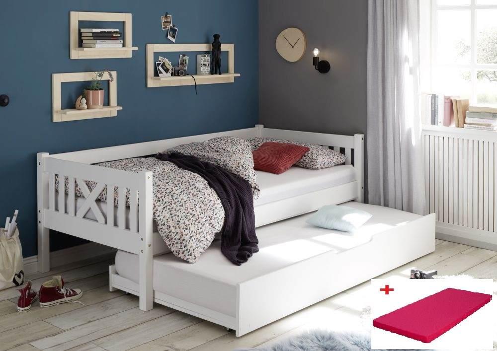 Bega 'Trevi' Kinderbett 90x200 cm, weiß, Kiefer massiv, inkl. Bettliege und Matratze (pink) Bild 1