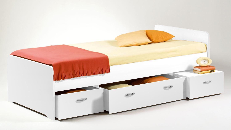 Stella Trading Boro Bett 90 x 200 cm, Holz, Weiß, 204 x 95 x 66 cm Bild 1