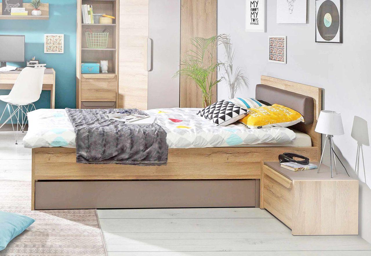 Einzelbett Jugendbett MALAKKA 90 x 200 cm Optik: Bianco Eiche Basalt Bild 1