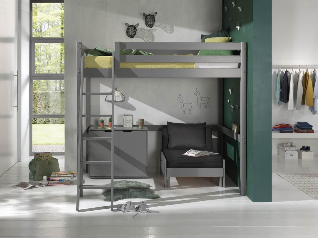 Vipack Hochbett grau, 140 x 200 cm inkl. Sesselbett und Kommode mit 2 Türen Bild 1