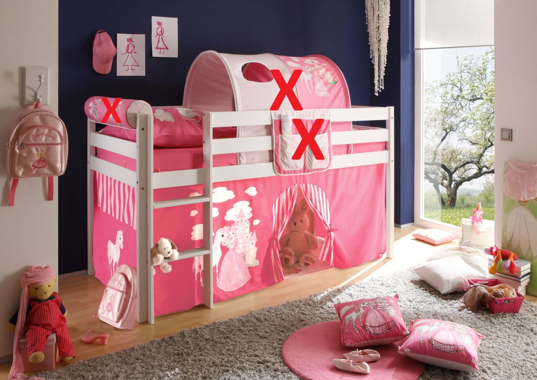 Ticaa Hochbett Malte Kiefer massiv weiß inkl. Vorhang rosa Bild 1