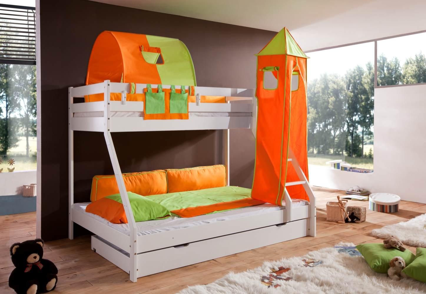 Relita 'Mike' Etagenbett weiß inkl. Bettschublade und Textilset 1-er Tunnel, Turm und Tasche 'grün/orange' Bild 1