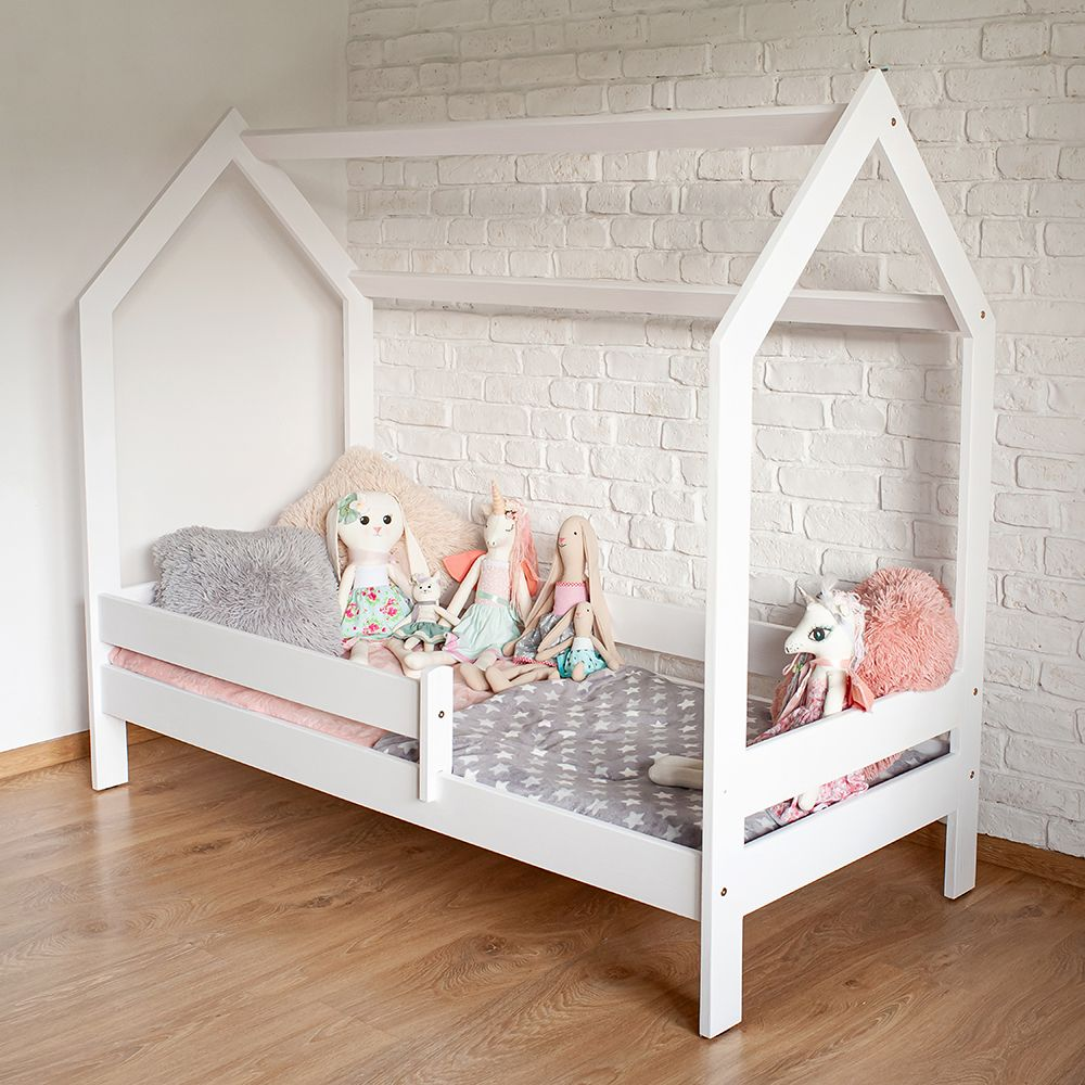 Kinderbettenwelt 'Sweety' Hausbett 80x160 cm, Weiß, Kiefer massiv, inkl. Rollrost und Matratze Bild 1