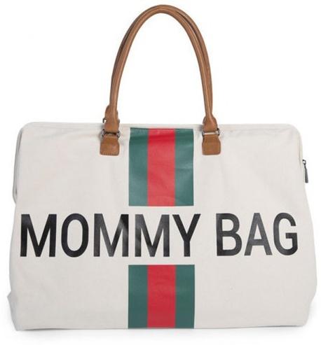 Childhome Große Wickeltasche Mommy Bag Canvas Off White Stripes Green-Red Bild 1