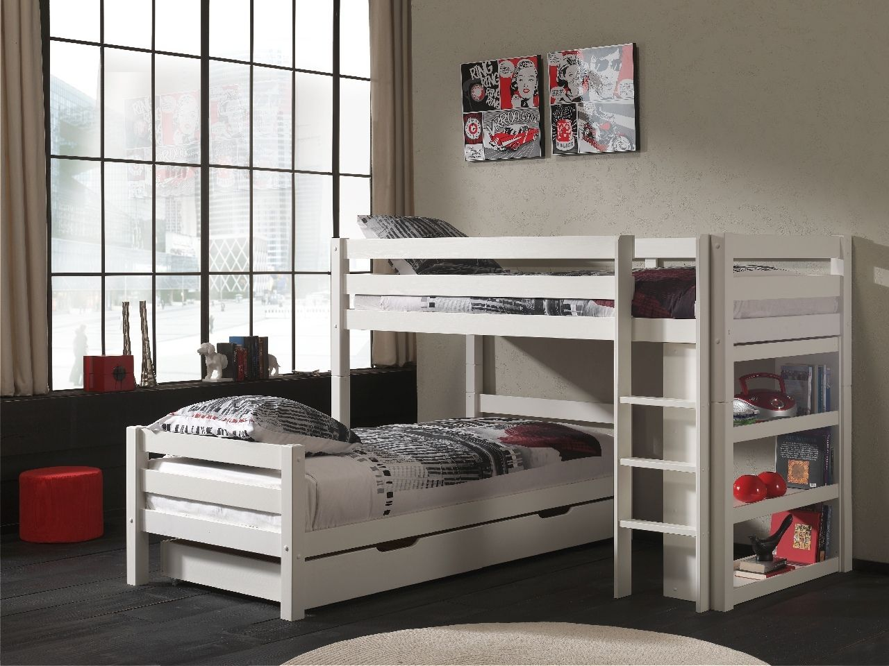 Vipack 'Pino' Winkel-Etagenbett 90x200 cm, weiß, Kiefer massiv, mit Bettschubladen Bild 1