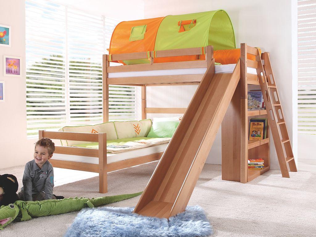 Relita 'SKY' Etagenbett mit Rutsche natur, inkl. Stoffset Grün/Orange mit zwei Matratzen Bild 1