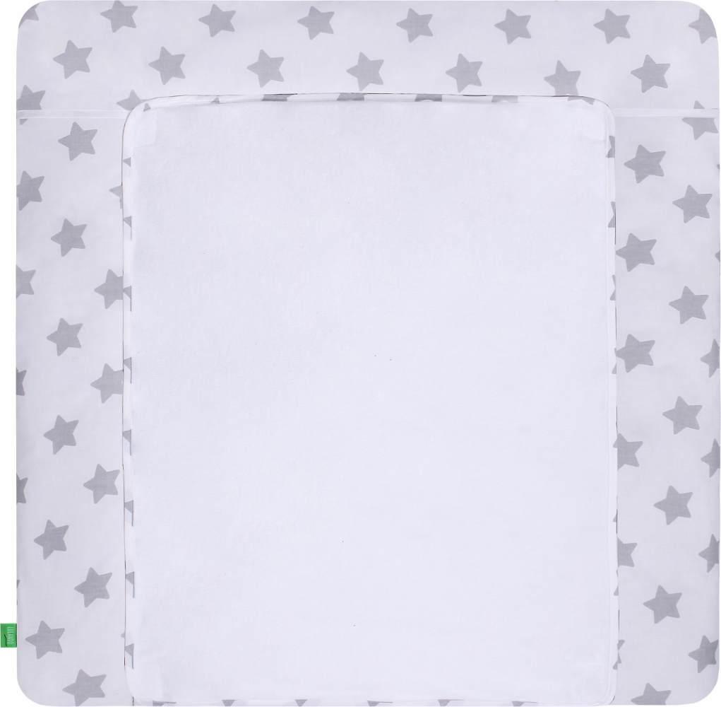 LULANDO Wickelauflage mit 2 abnehmbaren und wasserundurchlässigen Bezügen 76x76 cm - Weiß/Graue Sterne Bild 1