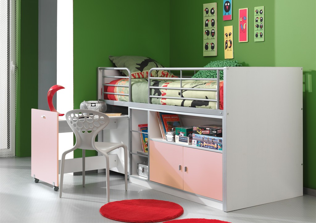 Kinderbett Jugendbett Bonny 90 x 200 cm Weiß / Rosa, inkl. Matratze Basic Bild 1