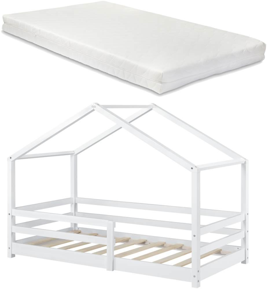 en. casa Kinderbett, 90 x 200 cm, mit Matratze und Rausfallschutz, weiß Bild 1