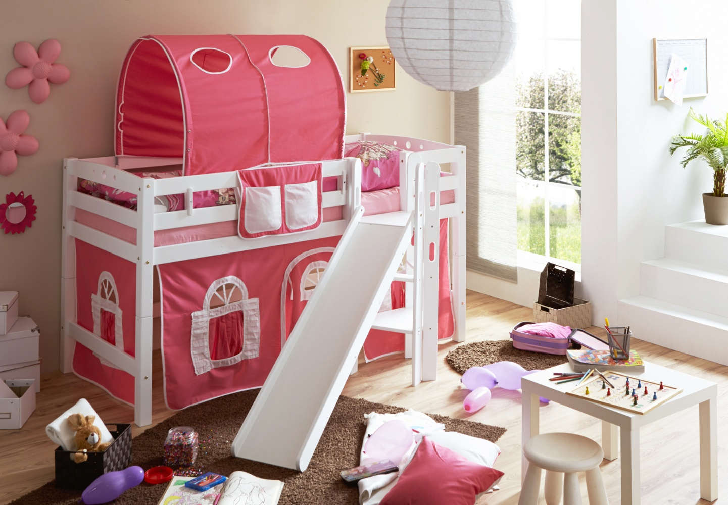 Ticaa 'Tino' Halbhochbett weiß, inkl. Vorhang rosa Bild 1
