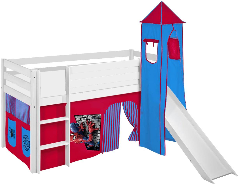 Lilokids 'Jelle' Spielbett 90 x 200 cm, Spiderman, Kiefer massiv, mit Turm, Rutsche und Vorhang Bild 1