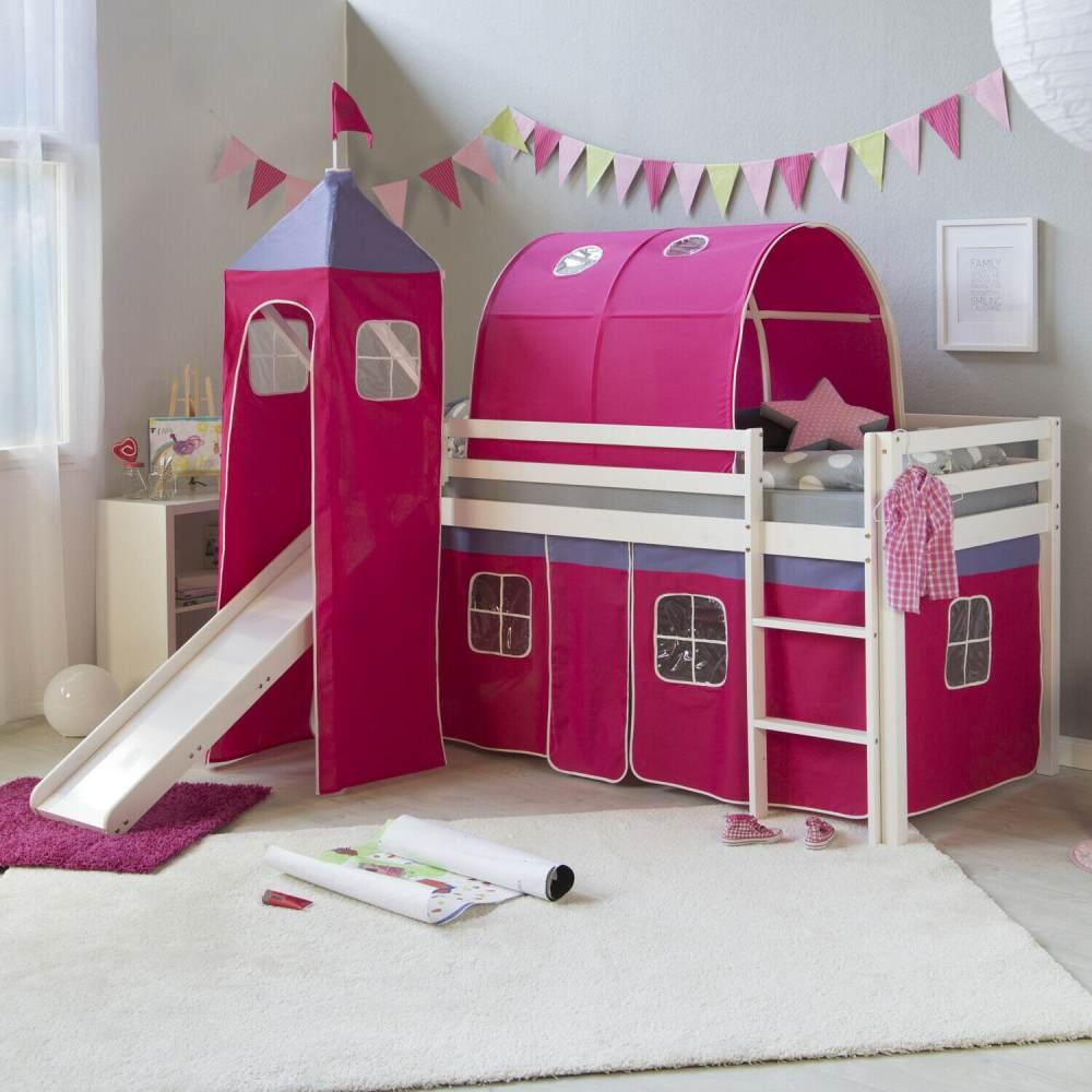 Hochbett Spielbett Kinderbett Rutsche Turm Vorhang rot 90x200 Bild 1