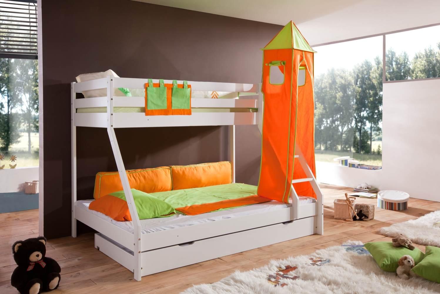 Relita 'Mike' Etagenbett weiß, inkl. Bettschublade und Textilset Turm und Tasche 'grün/orange' Bild 1