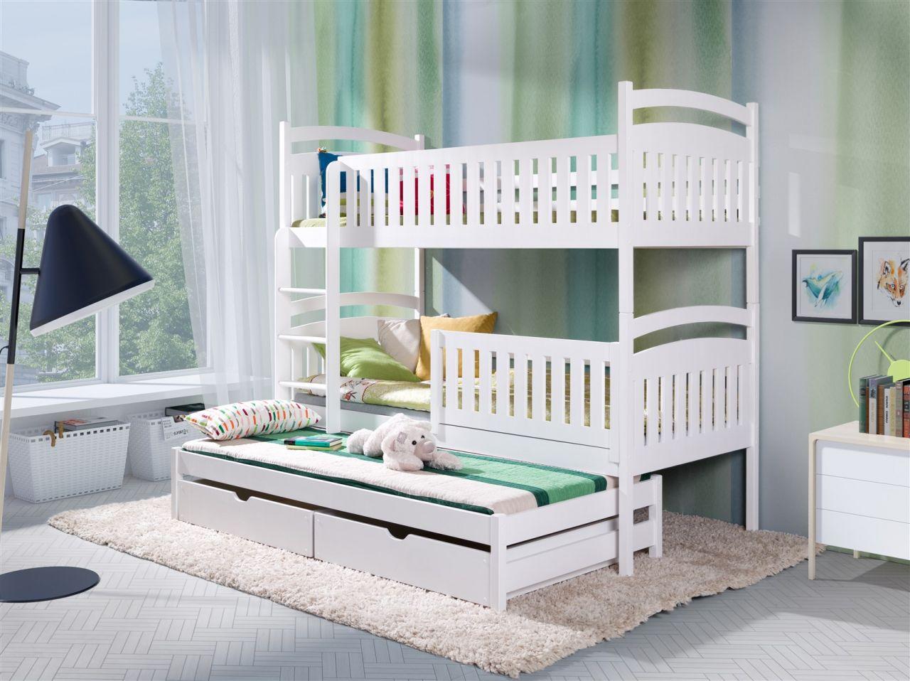 Fun Möbel 'Keiko XS' Etagenbett inkl. 3 Rollroste und 3 Matratzen, natur Bild 1