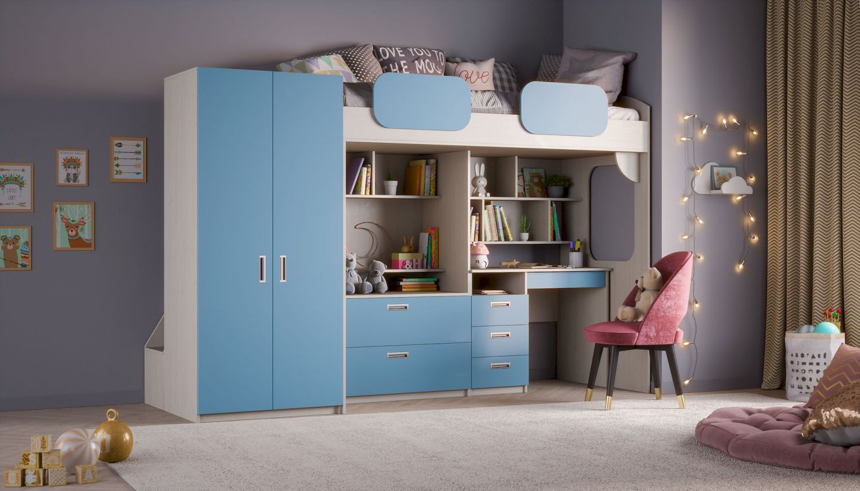 Hochbett 'Geko XL' blau Bild 1