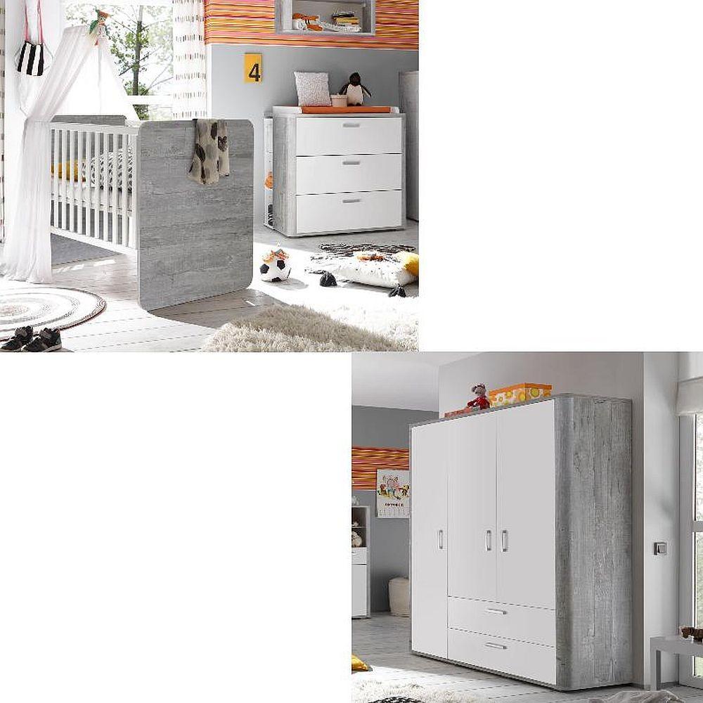 Storado 'Frieda' 4-tlg. Babyzimmer-Set vintage wood/grey weiß matt lack Bild 1