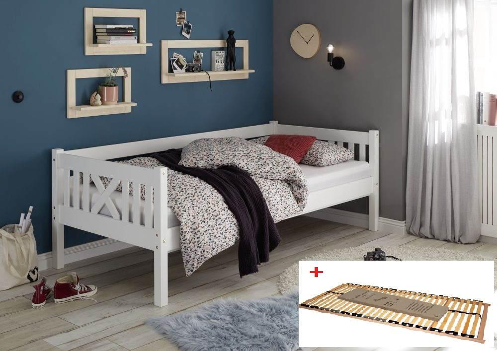 Bega 'Trevi' Kinderbett 90x200 cm, weiß, Kiefer massiv, inkl. Lattenrost Bild 1