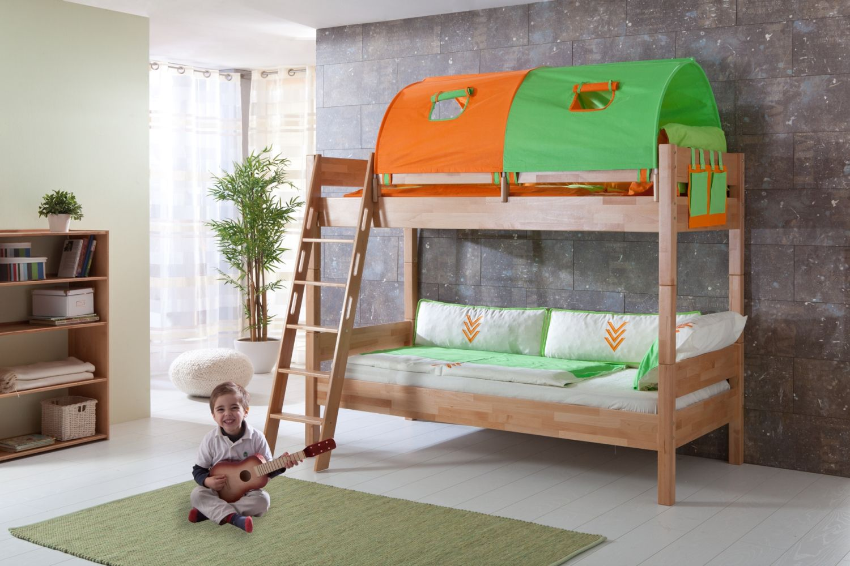 Etagenbett STEFAN Buche massiv natur lackiert, Stabverleimt, geplankte Optik, mit Textilset grün/orange Bild 1