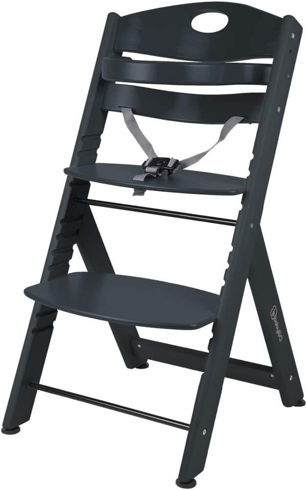 BabyGO 'Family XL' Hochstuhl, schwarz, Buche massiv, höhenverstellbar, inkl. Gurt und Sicherheitsbügel Bild 1