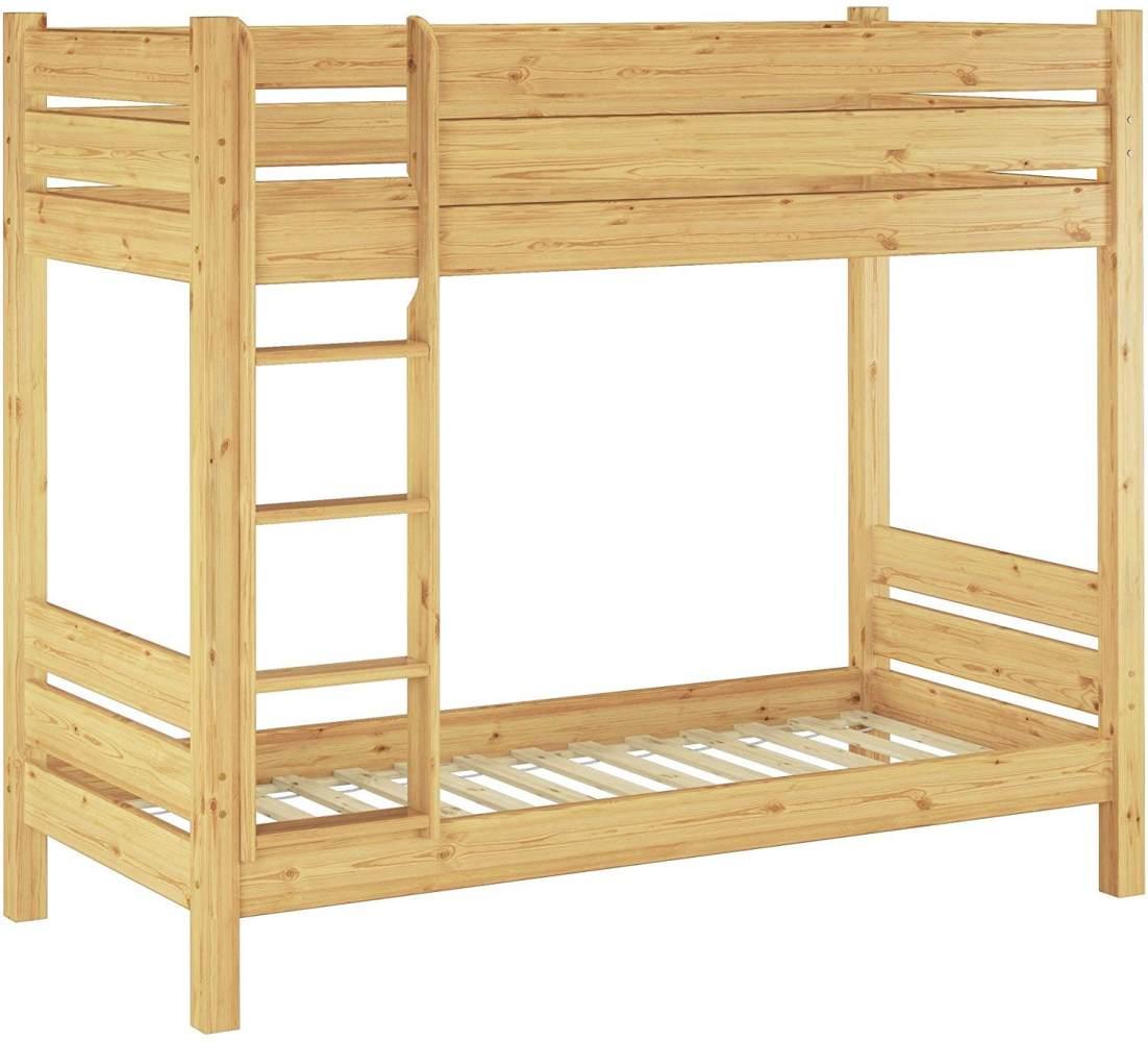 Erst-Holz 'Extra 30' Etagenbett 80x200 cm, natur, Kiefer massiv, inkl. Rollroste Bild 1
