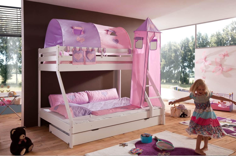 Relita 'Mike' Etagenbett weiß, inkl. Bettschublade und Textilset 2-er Tunnel, Turm und Tasche 'purple/rosa' Bild 1