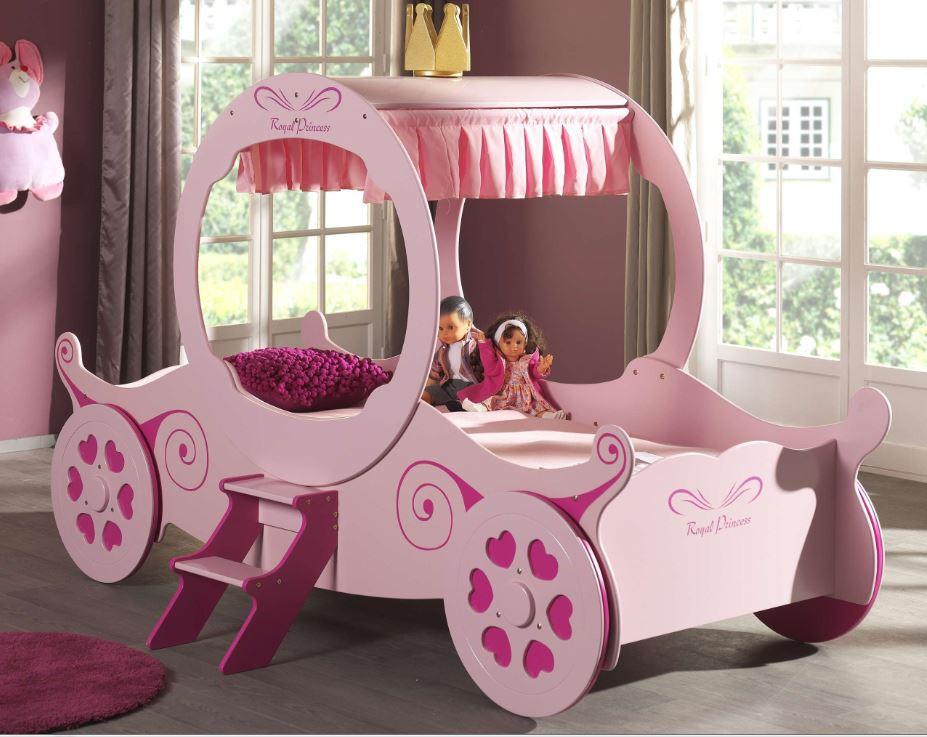 Royal Princess Kate Kutschenbett Kinderbett Spielbett Bett 90x200 cm Rosa, Matratze Basic Bild 1