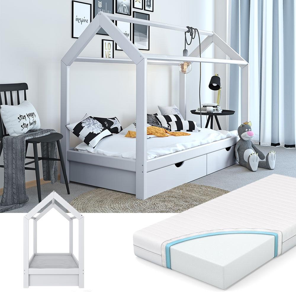 VitaliSpa 'Wiki' Hausbett weiß, 90x200 cm, inkl. Schubladen und Matratze Bild 1
