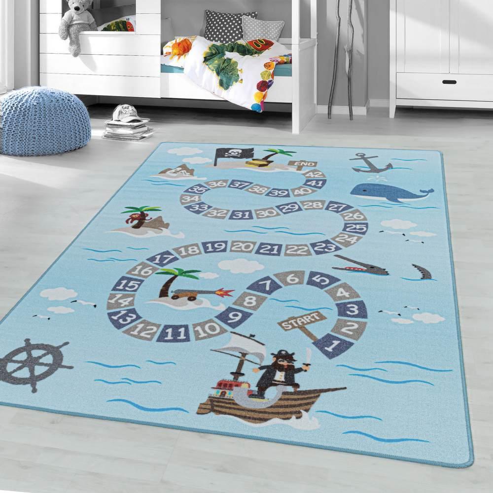 Kinderzimmer Kinderzimmerteppich 140x200 Blau Bild 1