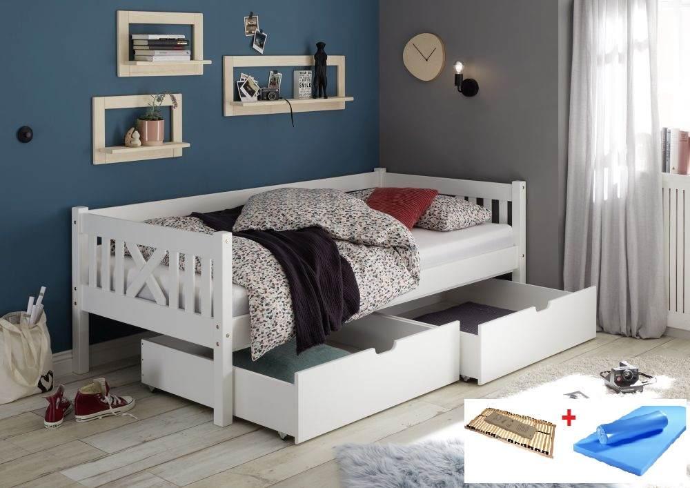 Bega 'Trevi' Kinderbett 90x200 cm, weiß, Kiefer massiv, inkl. 2 Bettkästen, Lattenrost und Matratze (blau) Bild 1