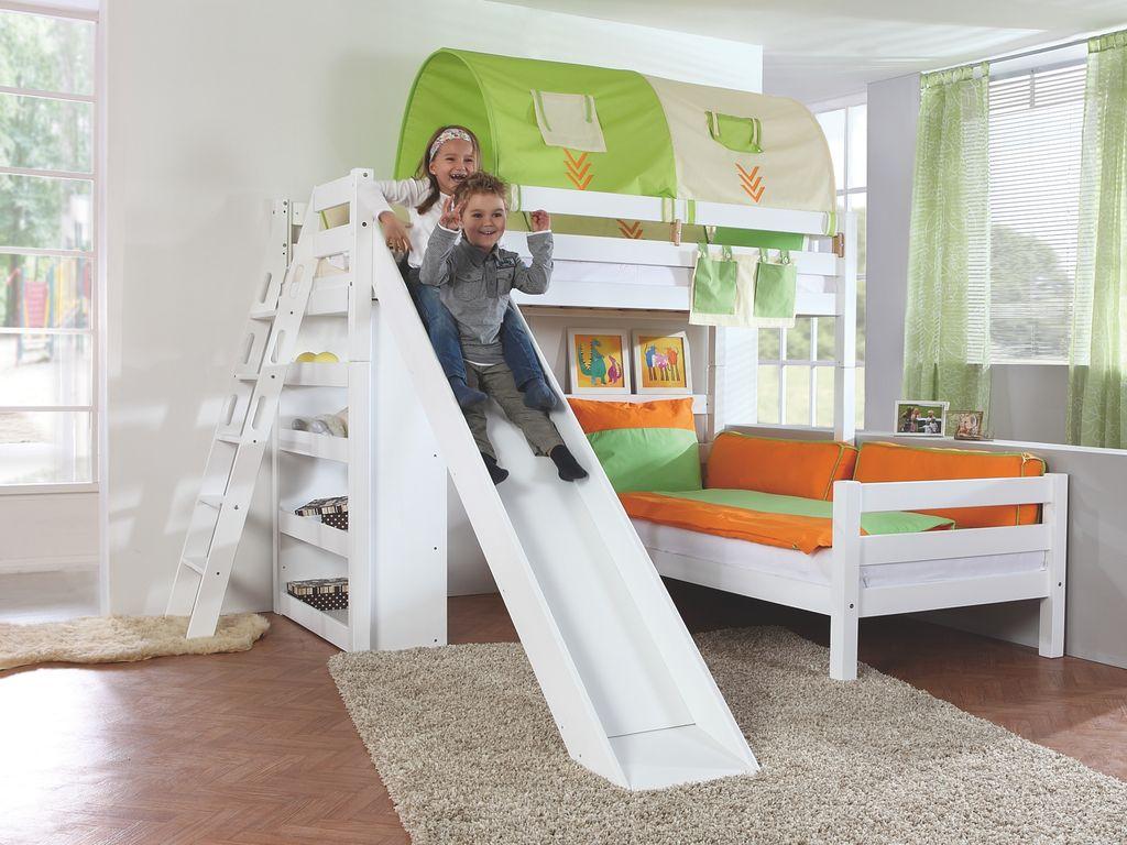 Relita 'SKY' Etagenbett mit Rutsche weiß, inkl. Stoffset 'Indianer' mit 2 Matratzen Bild 1