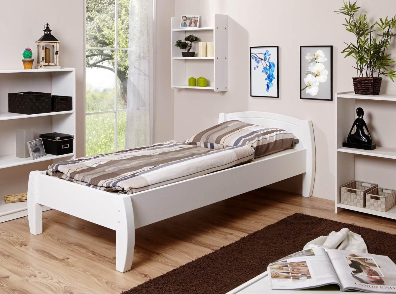 Ticaa 'Jasmin' Einzelbett 90 x 200 cm, Kiefer weiß Bild 1