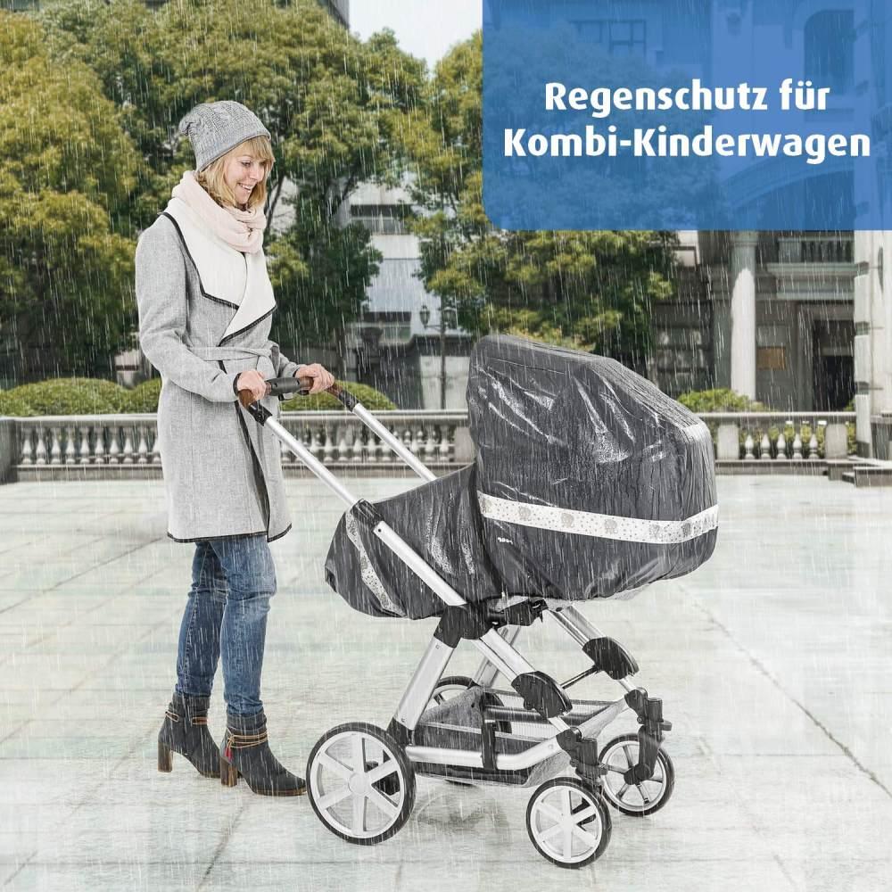 reer DesignLine RainSafe Classic+ Regenschutz für Kombi-Kinderwagen mit Reißverschluss, Reflektoren und Aufbewahrungstasche Bild 1