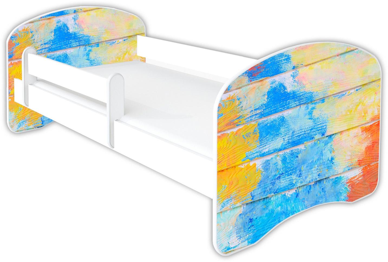 Clamaro 'Schlummerland Dekor' Kinderbett 80x180 cm, Design 20, inkl. Lattenrost, Matratze und Rausfallschutz (ohne Schublade) Bild 1