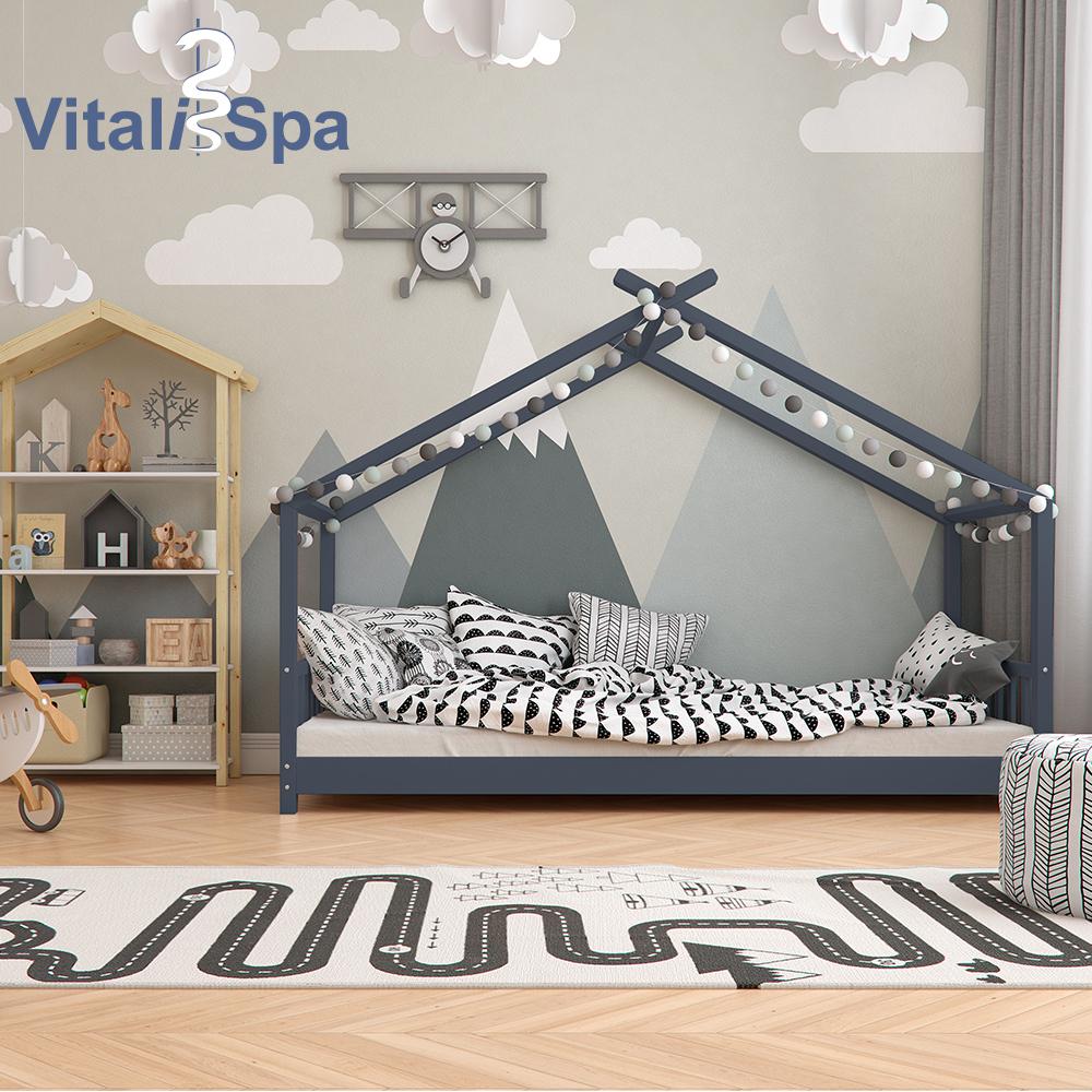 VitaliSpa 'DESIGN' Hausbett 90 x 200 cm, Massivholz, anthrazit Bild 1