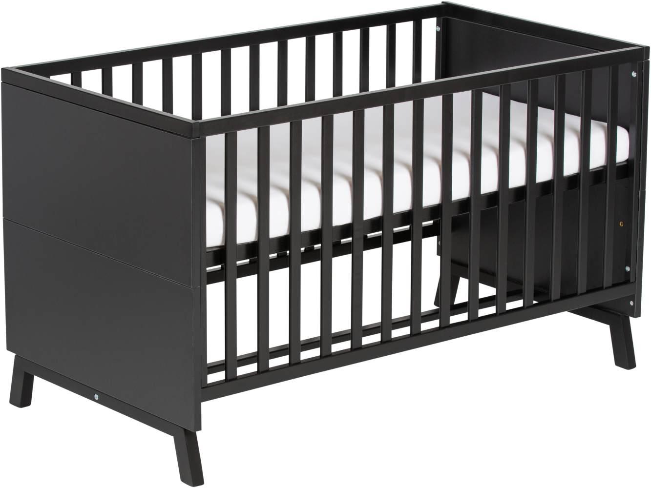 Schardt 'Miami Black' Kombi-Kinderbett 70x140 cm, schwarz, 3-fach höhenverstellbar, 3 Schlupfsprossen Bild 1