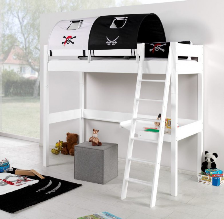 Relita 'RENATE' Multifunktionsbett mit Schreibtisch weiß, Stoffset 'Pirat' mit Matratze Bild 1