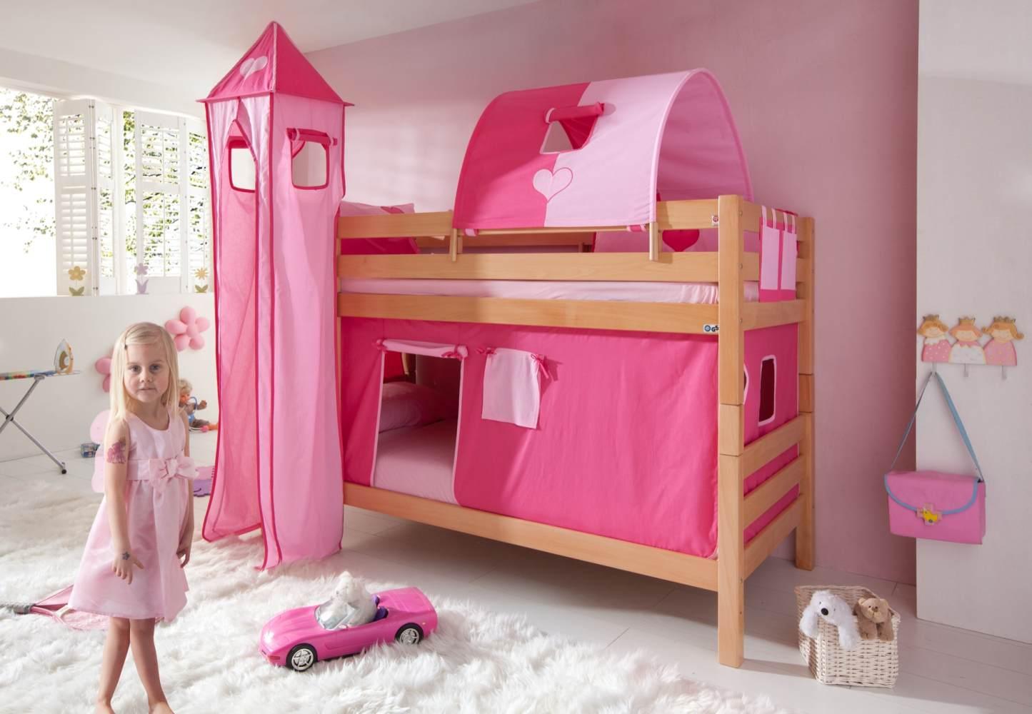Etagenbett BENI Buche massiv natur lackiert mit Textilset pink/rosa/herz Bild 1