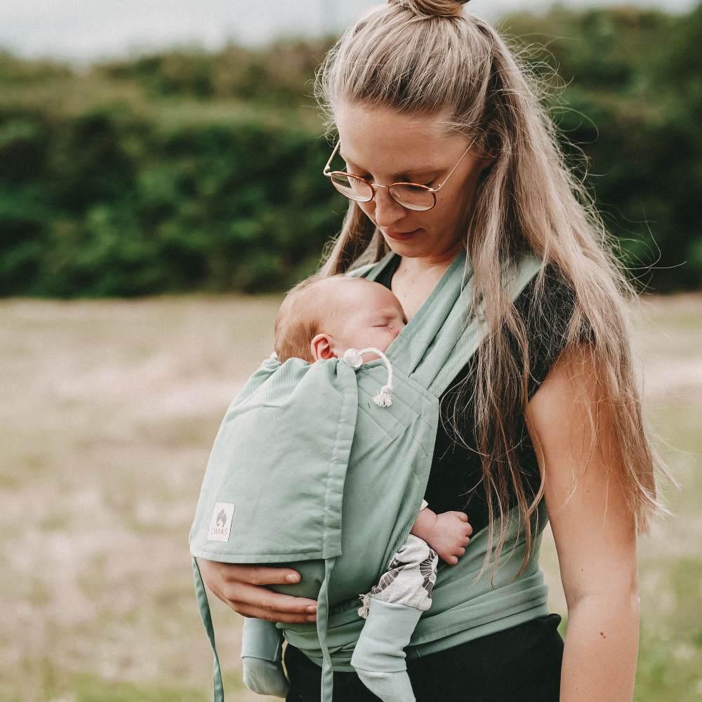 LIMAS Babytrage Halfbuckle | 50 -86 cm | Bauchtrage & Rückentrage & Hüfttrage | ab Geburt bis Kleinkindalter | Baby Carrier | Jade Bild 1