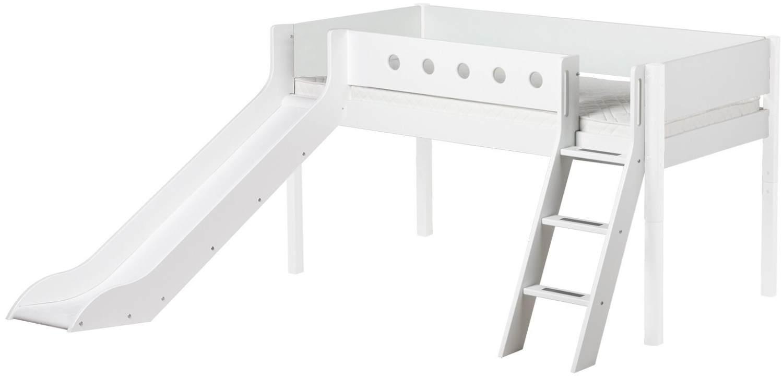 Flexa 'White' Halbhochbett mit Rutsche, weiß, schräge Leiter, 90x200cm Bild 1