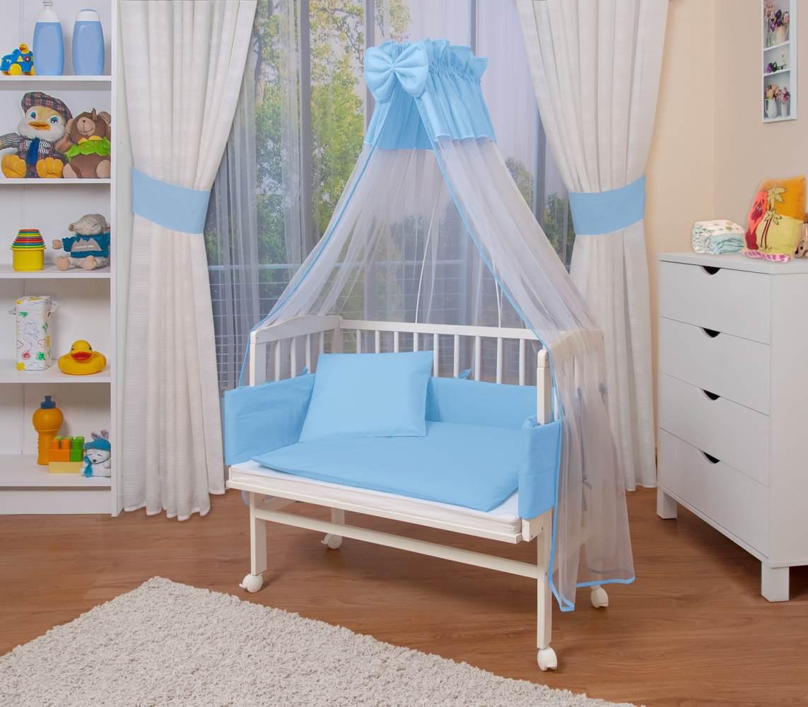 WALDIN Beistellbett mit Matratze und Nestchen, höhenverstellbar, Ausstattung blau/weiß, Gestell Weiß lackiert Bild 1
