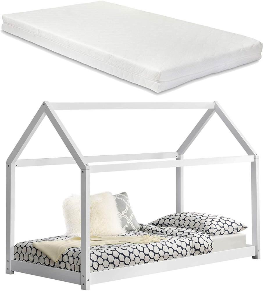 [en.casa] Hausbett mit Matratze 90x200cm weiß Bild 1