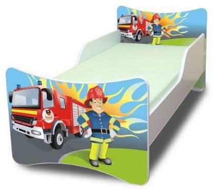 Best for Kids 'Feuerwehr' Kinderbett mit Schaummatratze 90x180 blau Bild 1