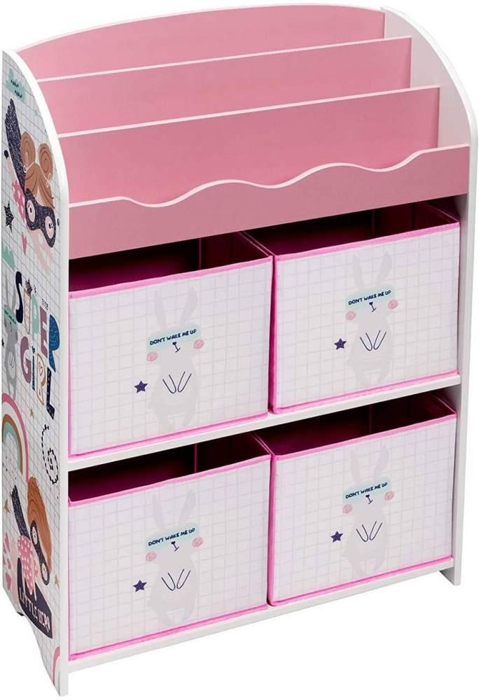 WOLTU Kinderkommode mit 4 Kisten aus MDF rosa Bild 1